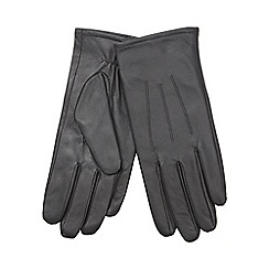 Isotoner - Three point detail leather glove in grey
