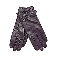 Isotoner - Quilted cuff leather glove in purple
