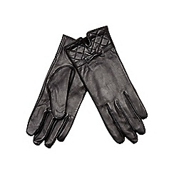 Isotoner - Quilted cuff leather glove in black
