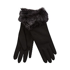 Isotoner - Faux fur cuff glove in black