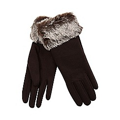 Isotoner - Faux fur cuff glove in chocolate