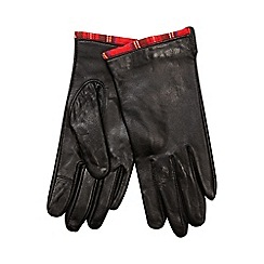 Isotoner - Invisible smartouch tartan trim leather glove in black