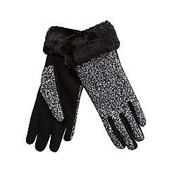 Totes - Faux fur cuff tweed glove