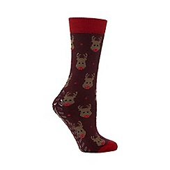 Totes - Original slipper sox single pack with rudolph