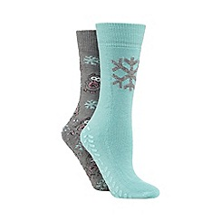 Totes - Original slipper sox twin pack with owl/mint