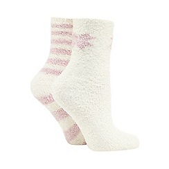 Totes - Supersoft slipper sox twin pack in pink/cream