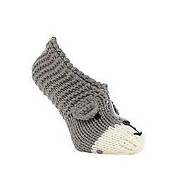 Totes - Novelty hand knitted footsie grey dog
