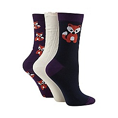 Totes - Patterned ankle socks three pack navy/fox