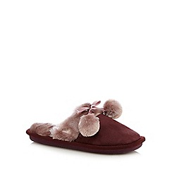 Totes - Suedette mule with contrast cuff and pom pom in dark berry