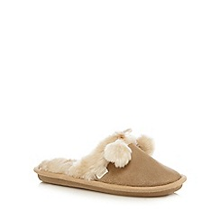 Totes - Suedette mule with contrast cuff and pom pom in tan