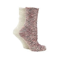 Totes - Supersoft bed sox twin pack in pink/cream