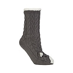 Totes - Novelty chunky slipper sox in grey