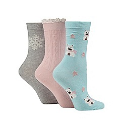 Totes - Patterned ankle socks three pack pastel/polar bear