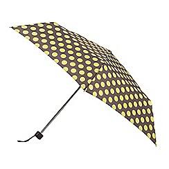 Isotoner - Grey with yellow spot print umbrella