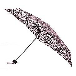 Isotoner - Pink leopard print umbrella