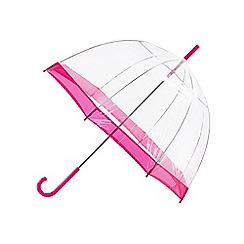 Isotoner - Clear hot pink border umbrella