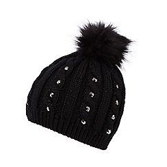 Star by Julien Macdonald - Black jewel cable knit beanie hat