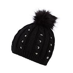 Star by Julien Macdonald - Black jewel cable knit beanie hat