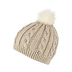 Star by Julien Macdonald - Natural jewel cable knit beanie hat