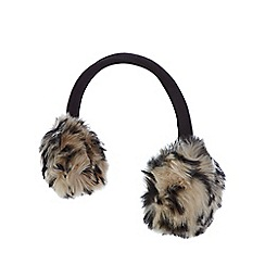Star by Julien Macdonald - Natural leopard faux fur earmuffs