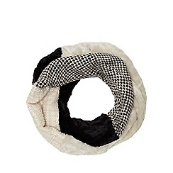 Betty Jackson.Black - Cream faux fur patchwork snood