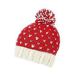 Iris & Edie - Red metallic heart bobble hat