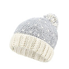 Iris & Edie - Grey sparkly heart knit beanie hat