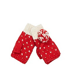 Iris & Edie - Red metallic heart mitten top gloves