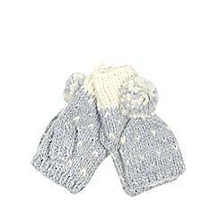 Iris & Edie - Grey sparkle knitted heart gloves