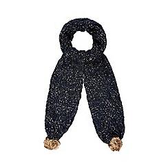 Iris & Edie - Navy sequin knitted pom pom scarf