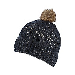 Iris & Edie - Navy sequin knitted pom pom hat