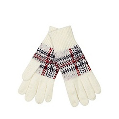 Iris & Edie - Cream tartan knit gloves