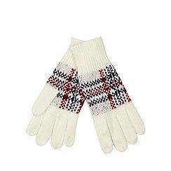 Iris & Edie - Cream tartan knit gloves