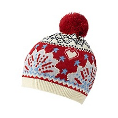Iris & Edie - Red Fair Isle knitted beanie hat