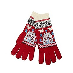 Iris & Edie - Red Fair Isle knitted gloves