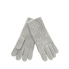 Iris & Edie - Grey bow knit gloves