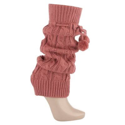 Pink cable knit leg warmer