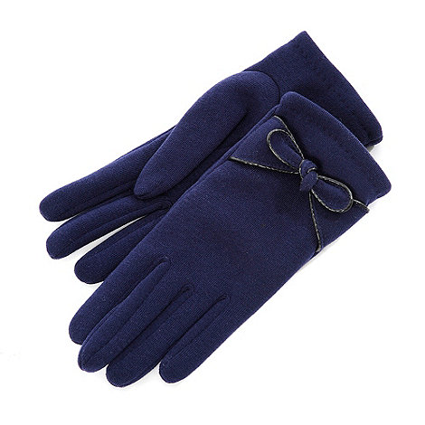 Isotoner - Navy knot detail gloves