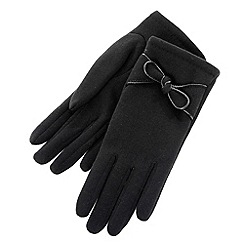 Isotoner - Black knot detail gloves