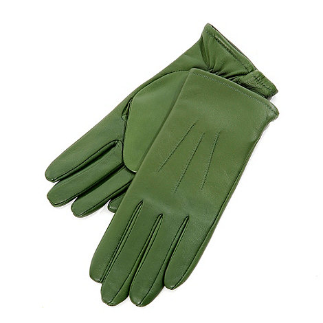 Isotoner - Green three point leather gloves