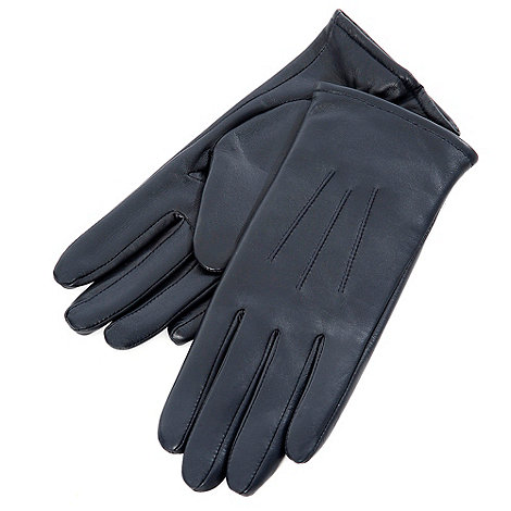 Isotoner - Navy three point leather gloves