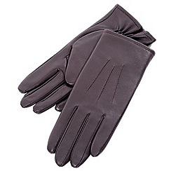 Isotoner - Purple stitch detail leather gloves