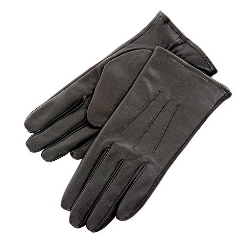 Isotoner - Black three point leather gloves