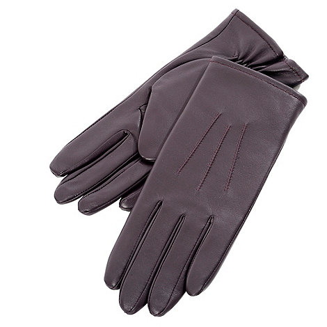 Isotoner - Chocolate three point leather gloves