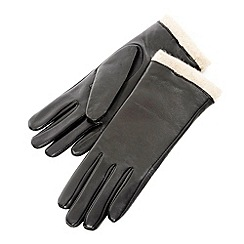 Isotoner - Black berber trim gloves