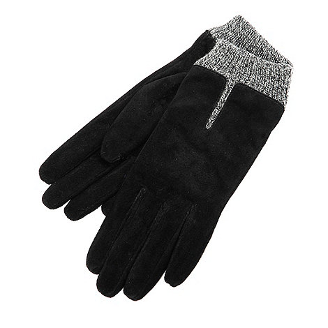 Isotoner - Black marl cuff gloves