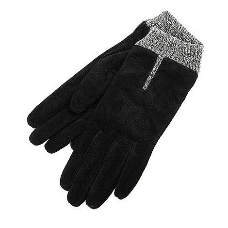 Isotoner - Black marl cuff gloves