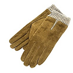 Isotoner - Khaki marl cuff gloves