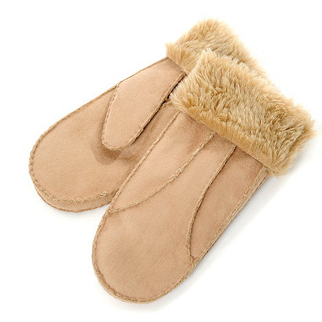 Isotoner - Natural faux suede mittens