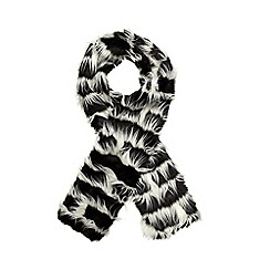H! by Henry Holland - Black striped faux fur scarf